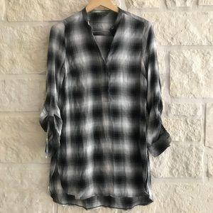 Rock & Republic Black White Plaid Tunic Tab Sleeve